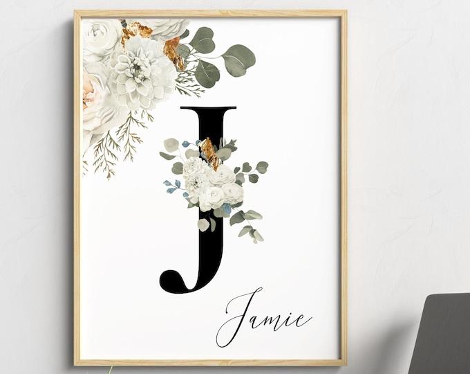 Personalized gifts, Floral monogram letter J wall art decor, Alphabet J floral digital print, Custom name letter J