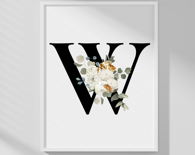 Letter W Wall Art, Initial W Wall Art, Instant Download, Letter W Wall Decor, Printable Wall Art, Flower Letter Print, Monogram Home Decor