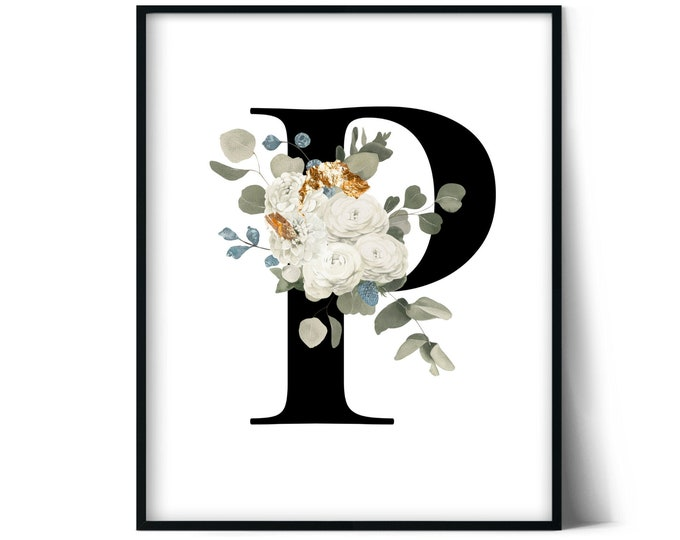Letter P Wall Art, Initial P Print, Instant Download, Letter P Wall Decor, Printable Wall Art, Monogram Letter, Monogram Digital Print