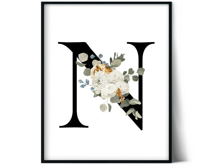 Letter N Wall Art, Initial N Print, Instant Download, Letter N Wall Decor, Printable Wall Art, Monogram Letter, Monogram Digital Print