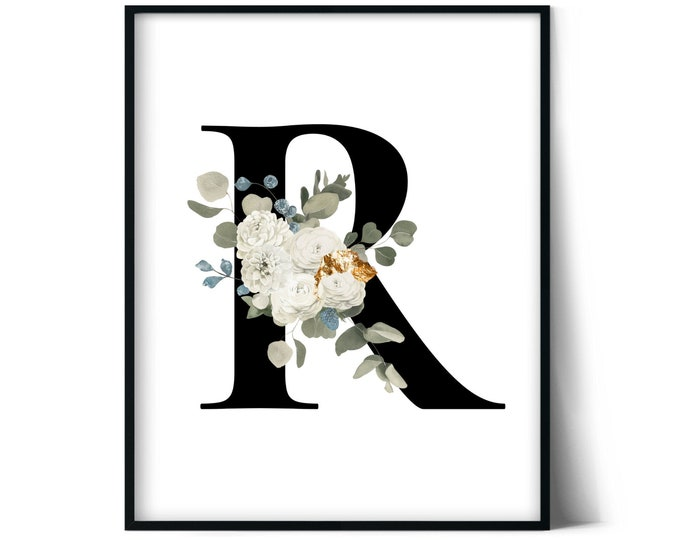 Letter R Wall Art, Initial R Print, Instant Download, Letter R Wall Decor, Printable Wall Art, Monogram Letter, Monogram Digital Print