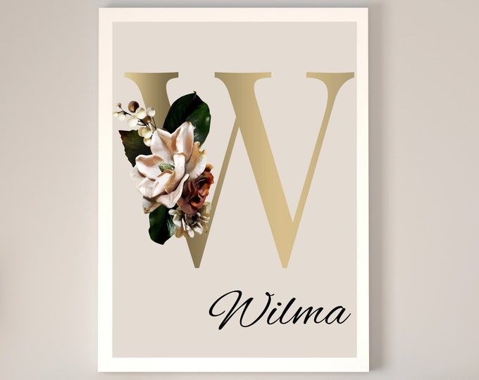 Personalized gifts, Floral monogram letter W wall art decor, Monogram flower alphabet W digital print