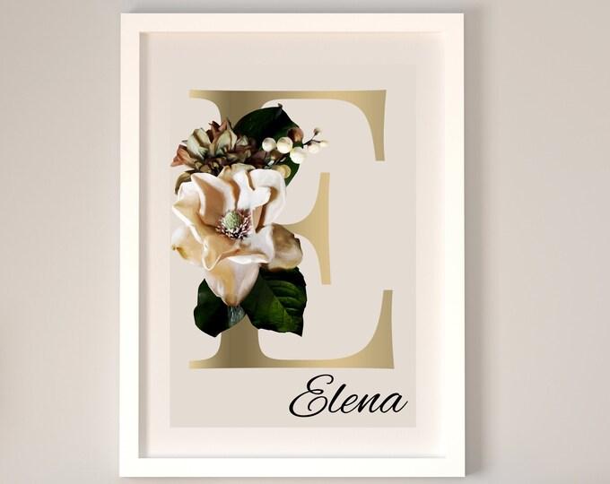 Personalized gifts, Floral monogram letter E wall art decor, Flower alphabet E monogram digital print
