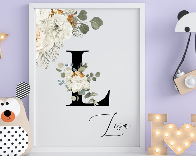 Letter L Wall Art, Initial L Wall Art, Instant Download, Letter L Wall Decor, Printable Wall Art, Flower Letter Print, Monogram Home Decor