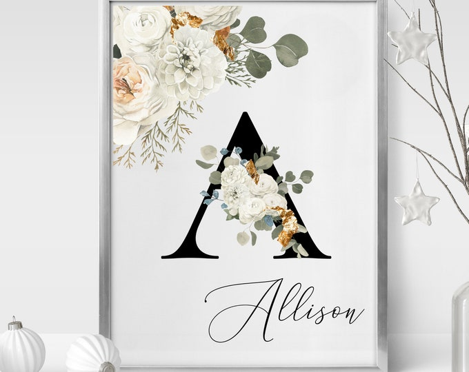 Personalized Name Monogram Letter A Digital Print, Custom Name Floral Wall Art, Personalized Name Print, Personalized Monogram Wall Art