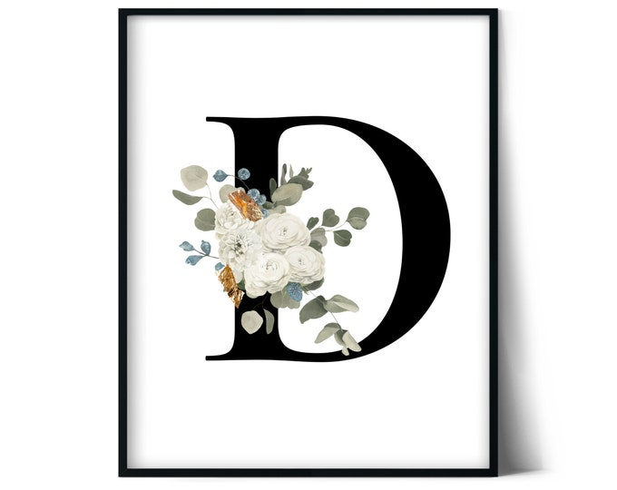 Letter D Wall Art, Initial D Print, Instant Download, Letter D Wall Decor, Printable Wall Art, Monogram Letter, Monogram Digital Print