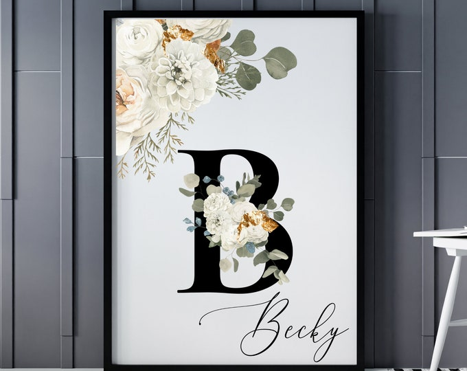 Personalized Name Monogram Letter B Digital Print, Custom Name Floral Wall Art, Personalized Name Print, Personalized Monogram Wall Art