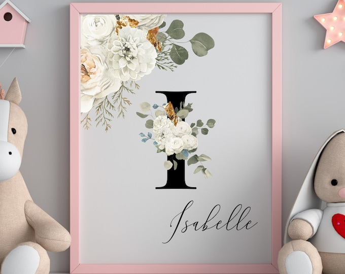 Personalized Name Monogram Letter I Digital Print, Custom Name Floral Wall Art, Personalized Name Print, Monogram Initial Wall Art