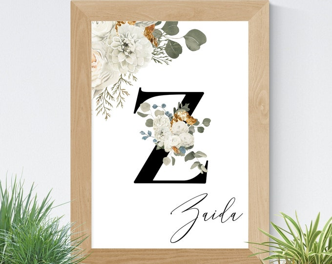 Letter Z Printable Wall Art, Custom Name Floral Wall Decor, Personalized Name Letter, Digital Print, Monogram Initial Z, Home Decor
