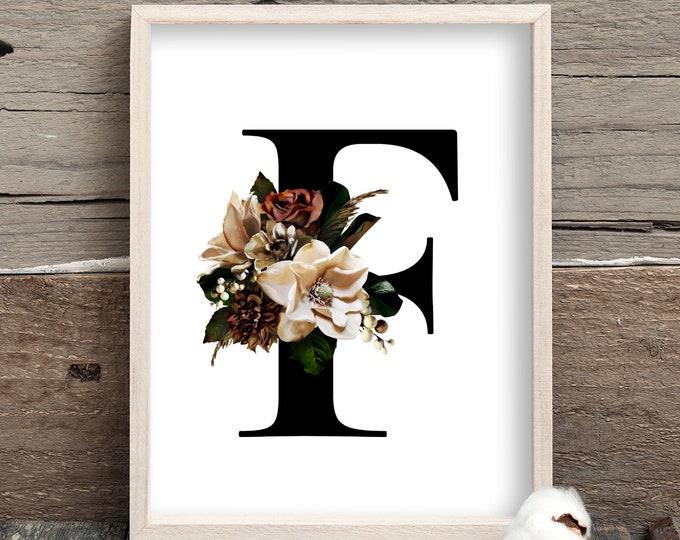 Monogram floral letter F wall art decor, Flower alphabet F monogram digital print