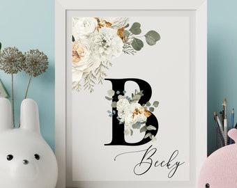 Personalized gifts, Letter B floral monogram wall art decor, Flower alphabet B monogram digital print
