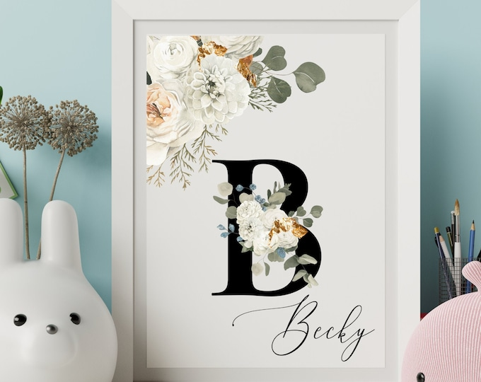 Letter B Wall Art, Wall Art, Personalized Name Letter Wall Decor, Printable Wall Digital Print, Monogram Initial, Home Decor