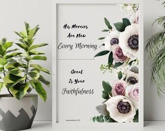 Lamentations 3:23, His mercies are new every morning, Bible verse printable wall art home decor, Bible verse home decor, Digital print