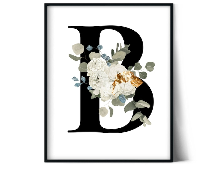 Letter B Wall Art, Initial B Print, Instant Download, Letter B Wall Decor, Printable Wall Art, Monogram Letter, Monogram Digital Print