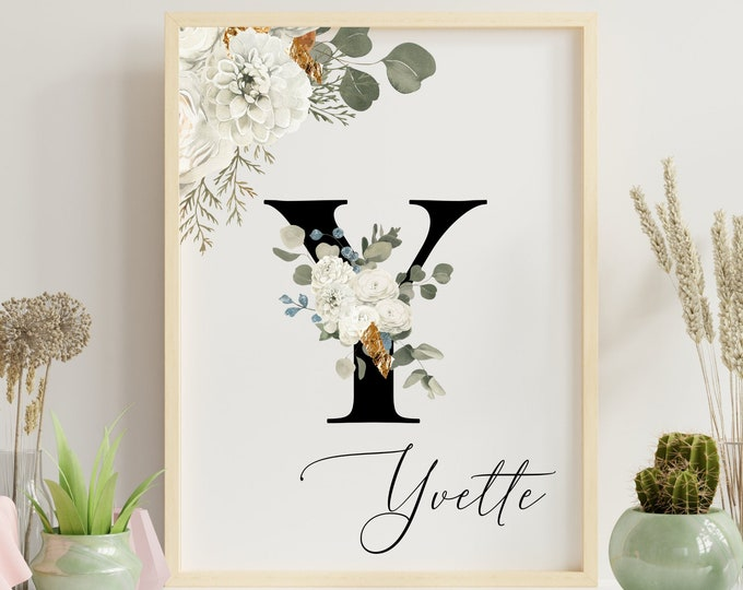 Letter Y Wall Art, Wall Art, Printable Wall Art, Personalized Name Letter Home Decor, Personalized Monogram Letter Y, Wall Decor