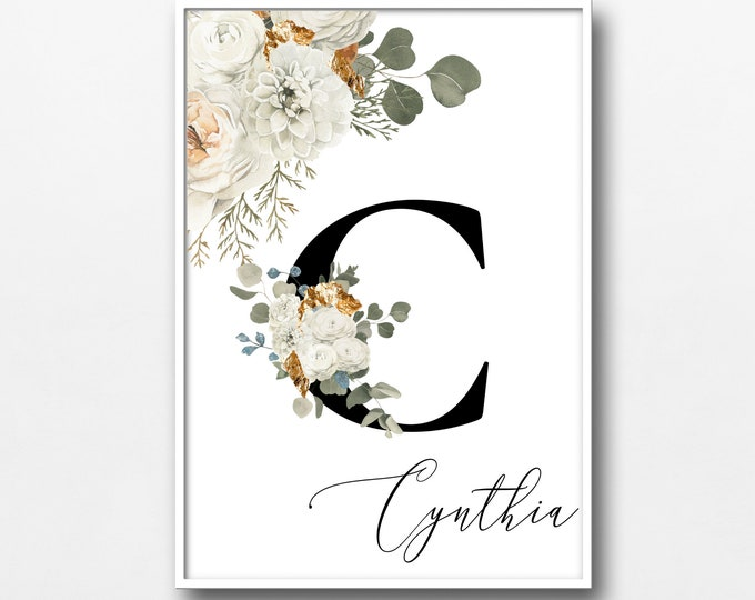 Personalized Name Monogram Letter C Digital Print, Custom Name Floral Wall Art, Personalized Name Print, Monogram Initial Wall Art