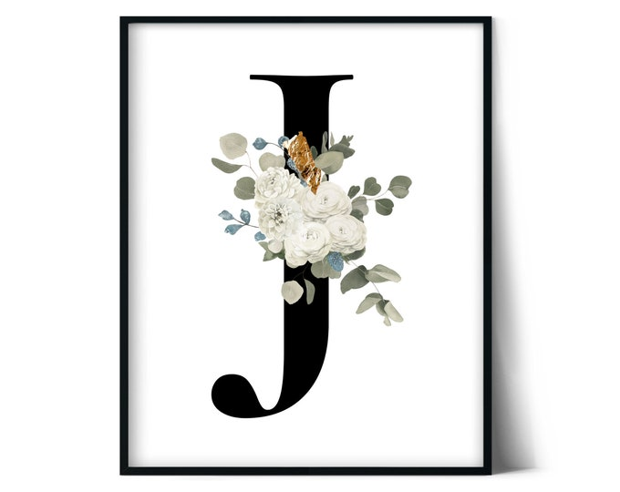 Letter J Wall Art, Initial J Print, Instant Download, Letter J Wall Decor, Printable Wall Art, Monogram Letter, Monogram Digital Print