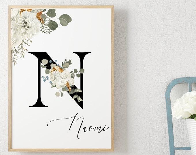Personalized Name Monogram Letter N Digital Print, Custom Name Floral Wall Art, Personalized Name Print, Monogram Initial Wall Art