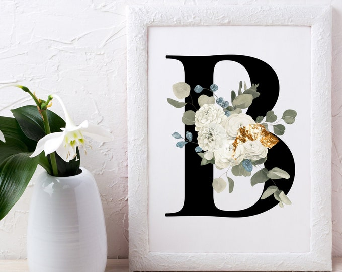 Letter B Wall Art, Initial B Print, Letter B Wall Decor, Flower Letter Print, Monogram Wall Art, Digital Print, Printable Wall Art