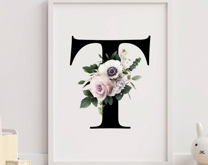 Monogram floral letter T wall art decor, Flower monogram alphabet T digital print