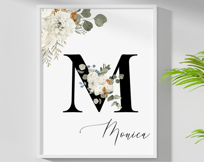 Personalized Name Monogram Letter M Digital Print, Custom Name Floral Wall Art, Personalized Name Print, Monogram Initial Wall Art