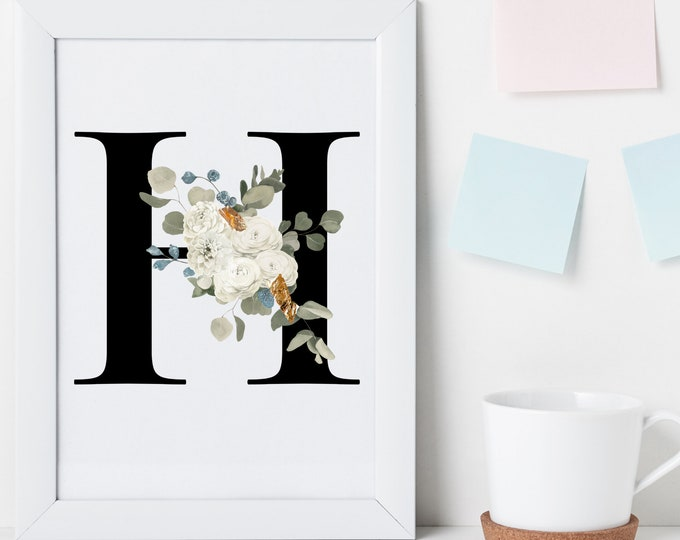 Letter H Wall Art, Initial H Print, Instant Download, Letter H Wall Decor, Printable Wall Art, Flower Letter Print, Monogram Wall Art