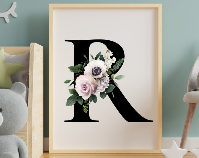 Letter R floral monogram wall art decor, Monogram flower alphabet R digital print
