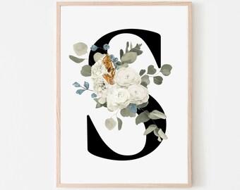 Monogram letter S floral wall art decor, Flower monogram alphabet S digital print