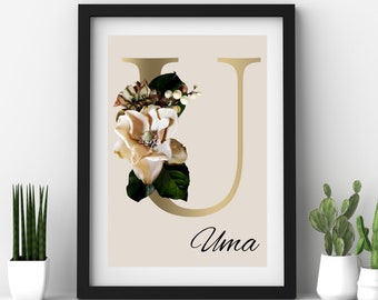 Personalized gifts, Floral monogram letter U wall art home decor