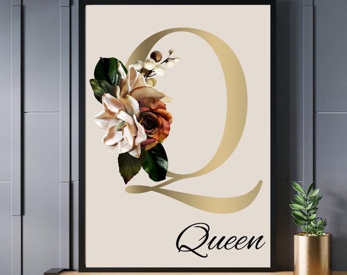 Personalized gifts, Floral monogram letter Q wall art decor, Monogram flower alphabet Q digital print