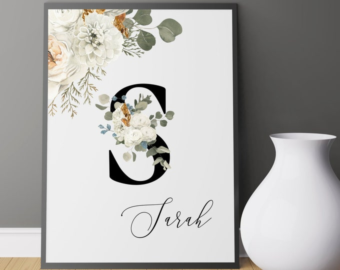 Letter S Wall Art, Wall Art, Custom Name Floral Wall Decor, Personalized Monogram Letter S, Printable Wall Art, Monogram Initial, Home Decor