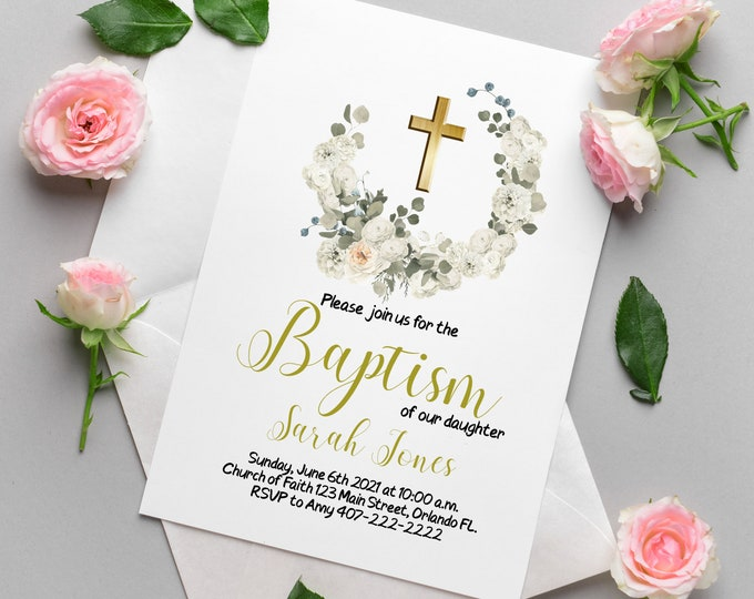 Baptism Floral Wreath Invitation Editable in Corjl, Christening Invitation, Baptism Invite Printable, Baptism Invitation Digital Template,