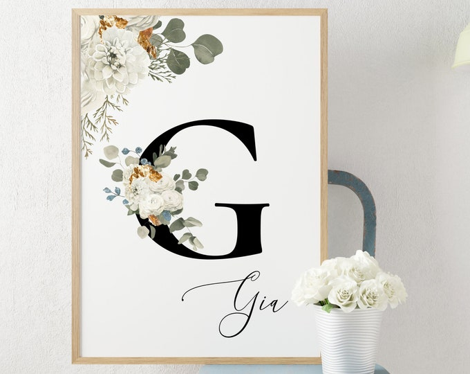 Personalized Name Monogram Letter G Digital Print, Custom Name Floral Wall Art, Personalized Name Print, Monogram Initial Wall Art