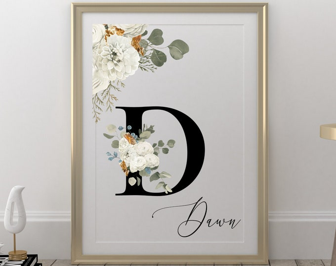 Personalized Name Monogram Letter D Digital Print, Custom Name Floral Wall Art, Personalized Name Print, Personalized Monogram Wall Art