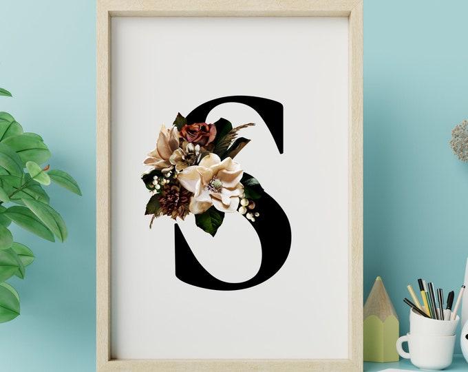 Monogram floral letter S wall art decor, Flower alphabet S digital print