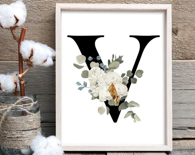 Letter monogram floral V wall art decor, Flower monogram alphabet V digital print