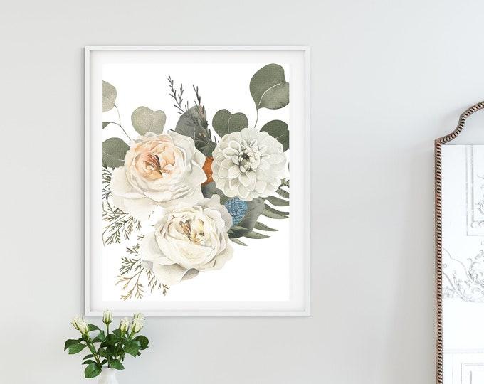 PrintableWallArt, Bouquet Print With Flowers, DigitalDownload, HomeDecor, BedroomDecor, WallDecor, WallArt