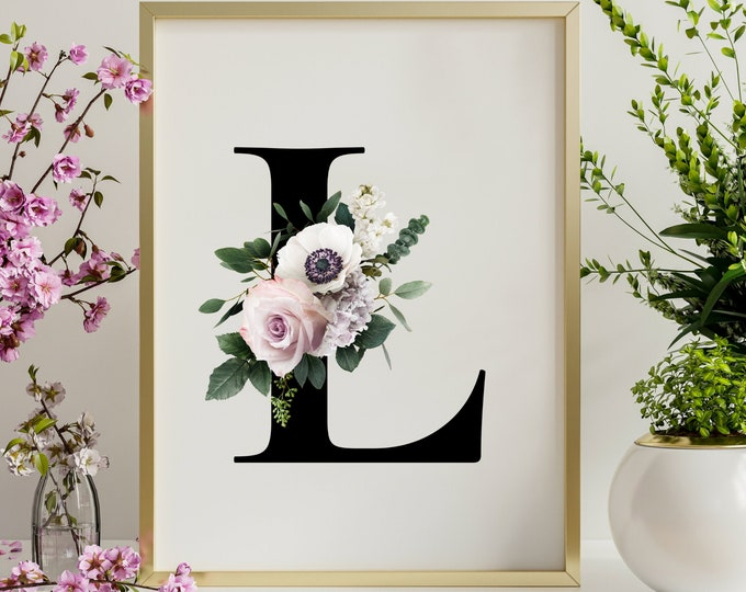 Letter L home decor printable wall art, Monogram L wall art home decor digital print, Floral monogram instant download