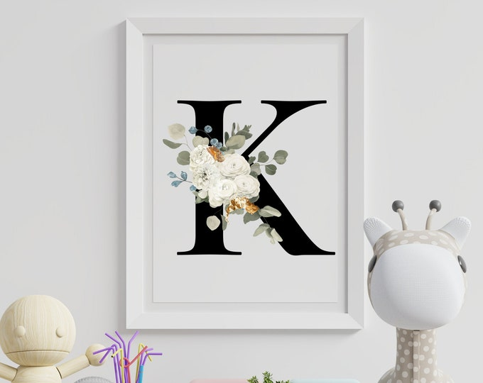 Letter K Wall Art, Initial K Print, Instant Download, Letter K Wall Decor, Printable Wall Art, Flower Letter Print, Monogram Wall Art