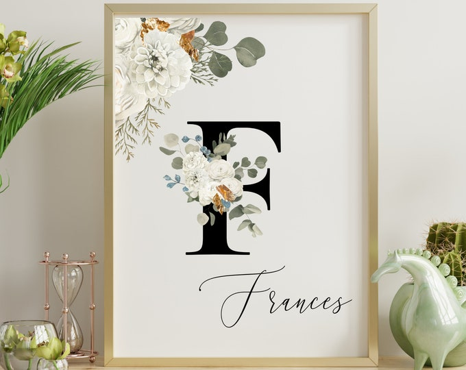Personalized Name Monogram Letter F Digital Print, Custom Name Floral Wall Art, Personalized Name Print, Monogram Initial Wall Art