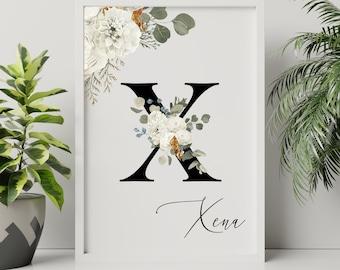 Personalized gifts, Letter X floral monogram wall art decor, Flower monogram alphabet X digital print