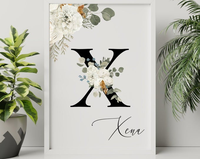 Letter X Wall Art, Wall Art, Personalized Name Letter Wall Decor, Printable Wall Art, Digital Print, Monogram Initial X, Home Decor