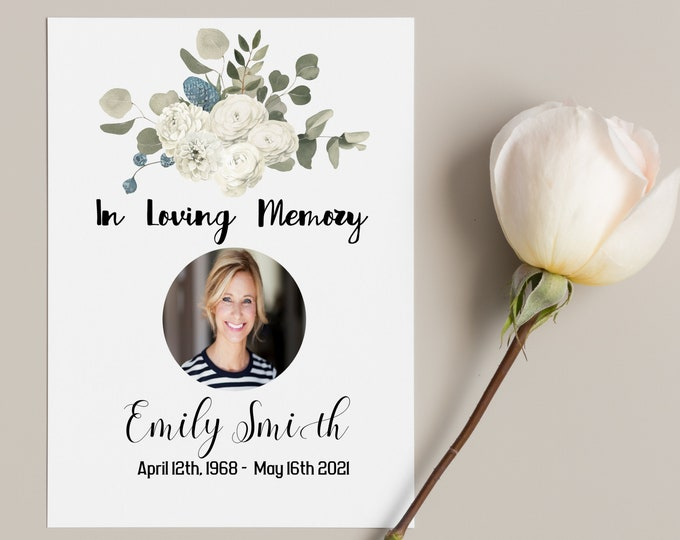 Editable Funeral Prayer Card Template, Celebration of Life Prayer Card, In Loving Memory Prayer Card, Funeral Prayer Card, Heavenly Prints