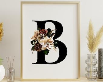 Floral monogram letter B wall art home decor, Flower alphabet B digital print