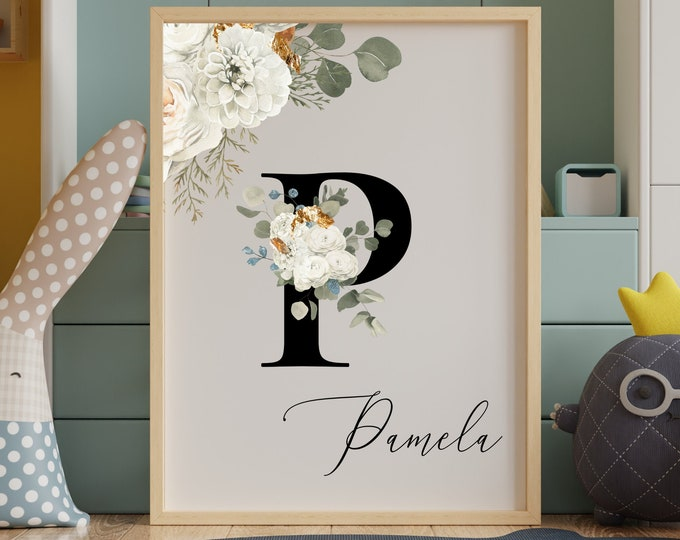 Personalized Name Monogram Letter P Digital Print, Custom Name Floral Wall Art, Personalized Name Print, Monogram Initial Wall Art