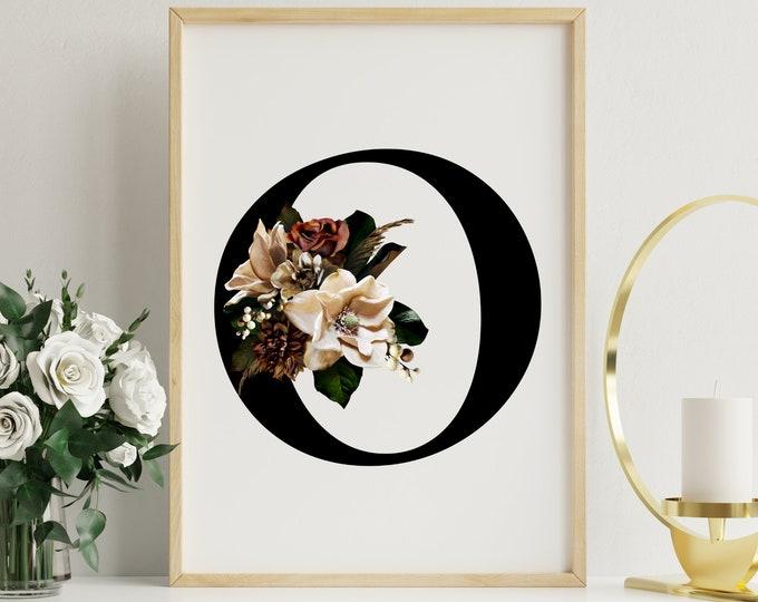 Letter O floral monogram wall art decor, Flower monogram alphabet O digital print