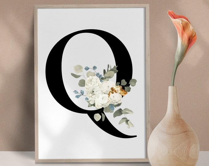 Letter Q Wall Art, Wall Art, Home Decor, Letter Q Wall Decor, Printable Wall Art, Monogram Initial, Monogram Digital Print
