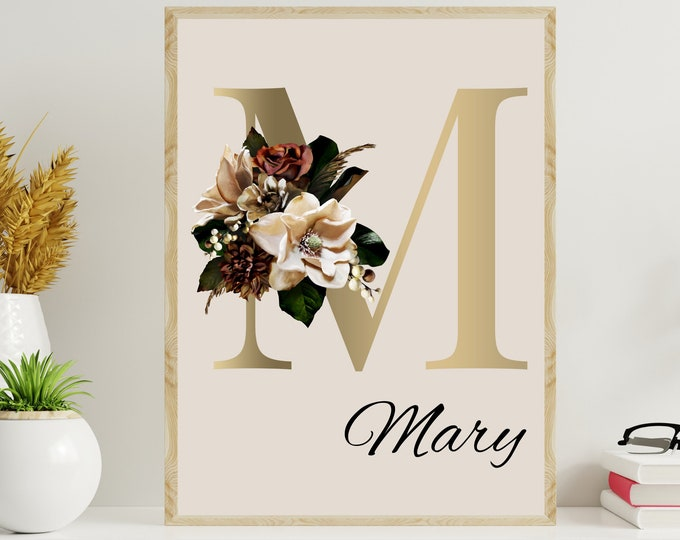 Personalized gifts, Floral monogram letter M wall art decor, Monogram flower alphabet M digital print