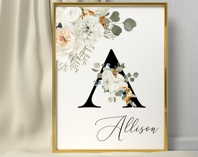 Letter A Wall Art, Initial A Wall Art, Instant Download, Letter A Wall Decor, Printable Wall Art, Flower Letter Print, Monogram Home Decor