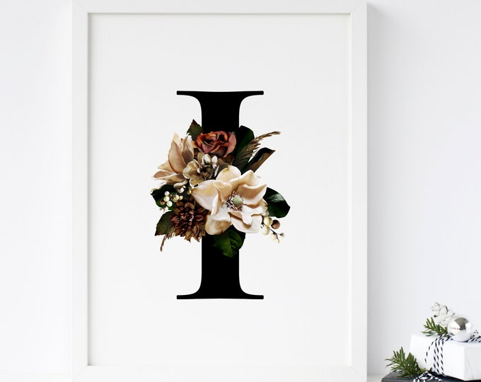 Floral monogram letter I wall art decor, Alphabet flower I monogram digital print